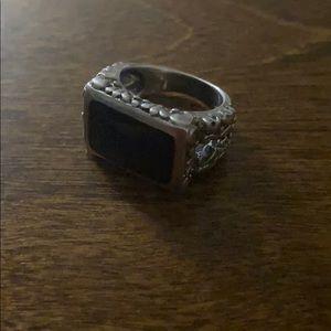 Sterling S black onyx's stone men's pinkie ring